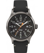Timex TW4B01900 メンズ遠征アナログ上昇ブラックレザーストラップの腕時計