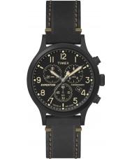 Timex TW4B09100 メンズ遠征ブラックレザーストラップの腕時計