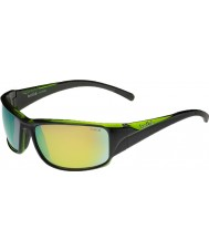 Bolle Keelback光沢のある黒の緑の偏光ブラウンエメラルドサングラス