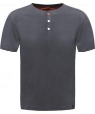 Dare2b メンズボタンの黒檀のマーシャルTシャツ