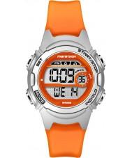 Timex TW5K96800 レディースマラソンミッドサイズオレンジ色の樹脂クロノグラフストラップ腕時計