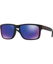 Oakley Oo9102-36ホルブルックマットブラック - 赤イリジウムサングラス