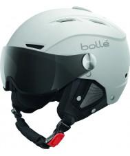 Bolle 31255 グレーバイザー付きバックラインバイザーソフト白とシルバーのスキーヘルメット -  56〜58センチメートル