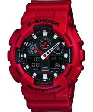 Casio GA-100B-4AER メンズG-SHOCKワールドタイム赤い樹脂ストラップ時計