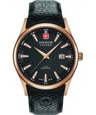 Swiss Military 6-4286-09-007 メンズnavalusブラックレザーストラップの腕時計