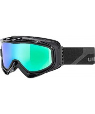 Uvex 5502132126 煙青交換用レンズと緑のミラースキーゴーグル -  G.gl 300はマットブラックを脱ぎます