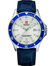 Swiss Military 6-4161-2-04-001-03 メンズ旗艦ブルーレザーストラップの腕時計