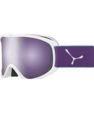 Cebe CBG60 ストライカーメートル白と紫 - ダークフラッシュミラースキーゴーグルをバラ