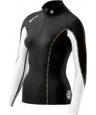 Skins DT00020750006FL レディースdnamicサーマルブラッククラウド長袖ジップトップ -  Lサイズ