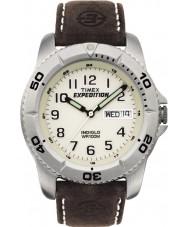 Timex T46681 メンズ白茶色遠征伝統的な時計