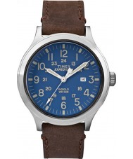 Timex TW4B06400 メンズ遠征スカウトブラウンレザーストラップの腕時計