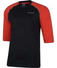 Dare2b メンズは黒い赤いジャージーTシャツでダイヤル